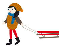Girl with sled Stock Photo