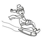 Girl sledding - illustration. Girl sledding - hand drawn illustration Stock Images