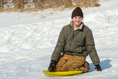 Girl Sledding Royalty Free Stock Image