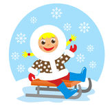 Girl on sledge Stock Photo