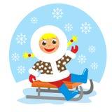 Girl on sledge. In winter Stock Photo