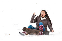Girl sledging Royalty Free Stock Photography