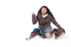 Girl sledging Stock Photo