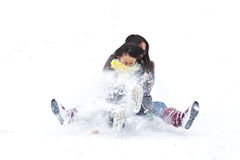 Girl sledging Royalty Free Stock Photo