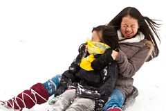 Girl sledging Stock Photography
