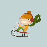 Girl sledging. winter sports kids. Cute illustration Stock Image
