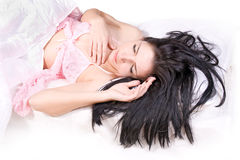 Girl sleep on bed Royalty Free Stock Photos