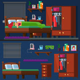 Girl sleep in the bed Woman room. Bedtime. Royalty Free Stock Images