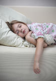 Girl sleep on sofa. Beauty girl sleep on sofa Royalty Free Stock Photos