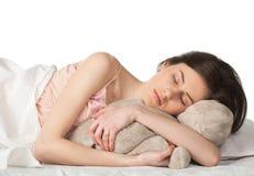 Girl sleep with toy Royalty Free Stock Image