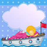 A girl sleeping above the boat Royalty Free Stock Image