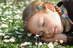 Girl sleeping amongst daisies Stock Images