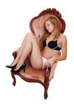 Girl sleeping in armchair. Stock Photography