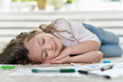 Girl sleeping during art class Royalty Free Stock Photography