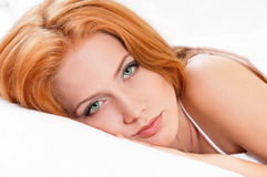 Girl is sleeping on bed Royalty Free Stock Photos