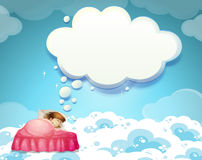 Girl sleeping in bed with clouds background Royalty Free Stock Photo