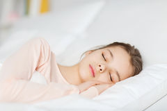 Girl sleeping in bed at home Royalty Free Stock Photography