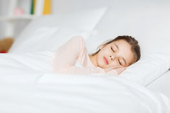 Girl sleeping in bed at home Royalty Free Stock Photos