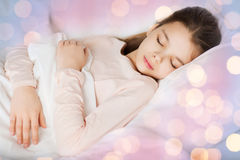Girl sleeping in bed at home Stock Photos