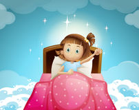 Girl sleeping in bed with sky background Royalty Free Stock Photography