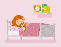 Girl sleeping in the bed. Vector illustration flat. Girl sleeping in the bed under blanket with teddy bear. Vector illustration in flat style Royalty Free Stock Images