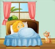 Girl sleeping in bedroom Stock Image