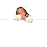 Girl sleeping on blank white board. Royalty Free Stock Photography