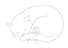 Girl sleeping with cat Stock Image