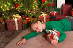 Girl sleeping with christmas Royalty Free Stock Image