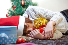 Girl sleeping on Christmas Royalty Free Stock Images