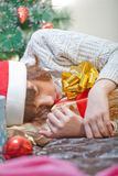 Girl sleeping at Christmas Royalty Free Stock Images