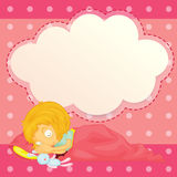 A girl sleeping with an empty cloud callout Stock Image