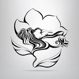 Girl sleeping in a flower. vector illustration. Girl sleeping in a flower on a gray background Royalty Free Stock Image
