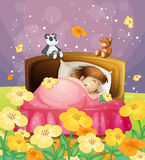 A girl sleeping in her bed Royalty Free Stock Photo