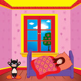 Girl sleeping in her bedroom. Illustration of a girl sleeping in her bedroom stock photos