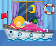 A girl sleeping on her boat-like bed. Illustration of a girl sleeping on her boat-like bed Stock Photos