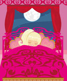 Girl sleeping in his bedroom Stock Images