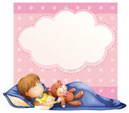 Girl sleeping. Illustration of a banner with a  girl sleeping background Stock Images