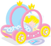 Girl sleeping. Little girl sleeps in her bed made as a carriage of a princess Stock Photography