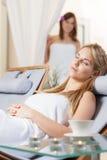 Girl sleeping on lounger Royalty Free Stock Photos