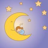 Girl sleeping on the moon. Girl sleeping on moon among star Royalty Free Stock Image