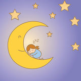Girl sleeping on the moon Royalty Free Stock Image