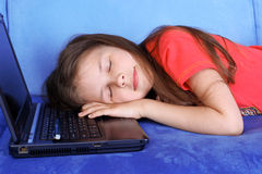 Girl sleeping at the PC Royalty Free Stock Photos