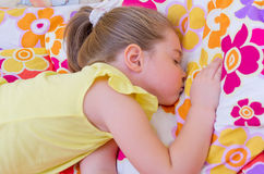 Girl sleeping on pillow Royalty Free Stock Photography