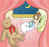 A girl sleeping while reading book in her room Royalty Free Stock Photos