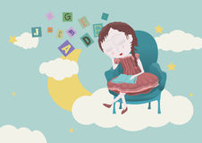 Girl sleeping in the sky. Dreaming girl on a chair in the sky, she holds a book, there are letters in the sky Royalty Free Stock Image