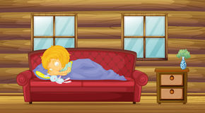 A girl sleeping at the sofa with a stuff toy. Illustration of a girl sleeping at the sofa with a stuff toy vector illustration