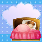 A girl sleeping soundly with an empty callout Royalty Free Stock Photo