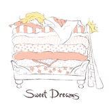 Girl sleeping sweetly on the bed Princess and the Pea Royalty Free Stock Photo