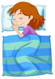 Girl sleeping under blanket. Illustration vector illustration